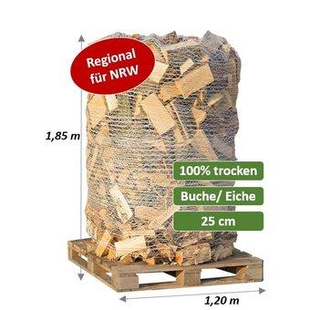 Trockenes Kaminholz - 25 cm als Buche/Eiche-Mix - 2 SRM (700 kg) auf Palette verpackt