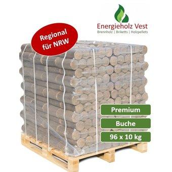 Runde Buchenbriketts  Premium - 960 kg auf Palette