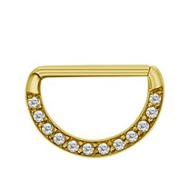 Gold Plated Nipple Piercing - Crystals