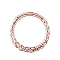 Rosé Vergulde Piercing Ring - Twisted Touw