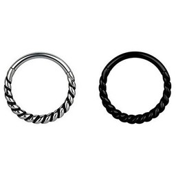 Zwart/Chirurgisch Staal Conch/Tepel Ring - Twisted Touw