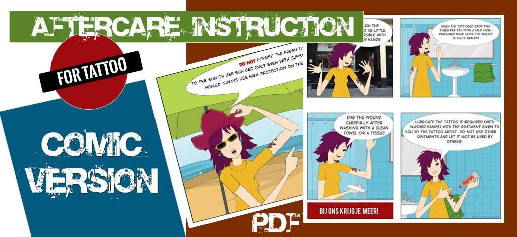 Stripboek Nazorginstructie voor Tattoo