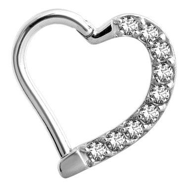 0b57451d07d31 Piercing Ring - Swarovski Elements Heart