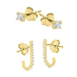 Gold Plated  / Silver Earrings Set - Swarovski Elements