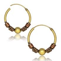 Brass Hoop Earrings - Tribal