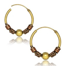 Brass Hoop Earrings - Tribal
