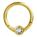 Gold Plated Hinged Segment Ring - Swarovski Crystal