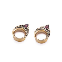 Brass Tunnel - Vintage Design with Garnet