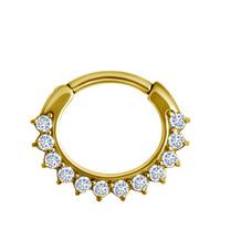 Vergulde Click Ring - Kristalletjes