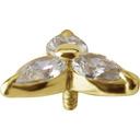 18K Gold  Ear Piercing   -  Flower Swarovski Zirconia