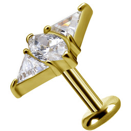 18K Gold  Ear Piercing   -   Swarovski Zirconia