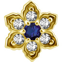 18K Gouden Oor Piercing  -  Swarovski Zirkonia  en  Blauwe Topaas