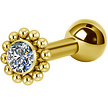 Gold Plated Titanium Barbell - Swarovski Crystals