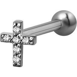 Surgical Steel Barbell - Swarovski Zirconia Cross