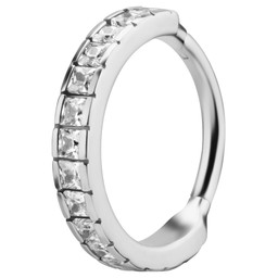 Surgical Steel Click Ring - Square Cubic Zirconia