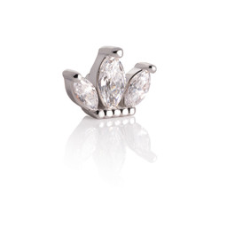 Silver Piercing Ball - Triple Marquise Cluster