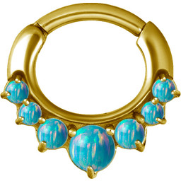 Gold Plated Septum Click Ring - Opal
