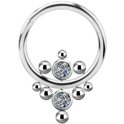 Titanium Click Ring - Cubic Zirconia