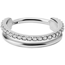 Surgical Steel Click Ring - Swarovski Zirconia
