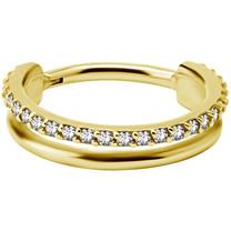 Gold Plated Click Ring - Swarovski Zirconia