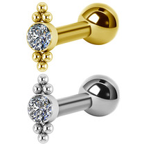 Gold Plated Titanium Barbell - Swarovski Crystals