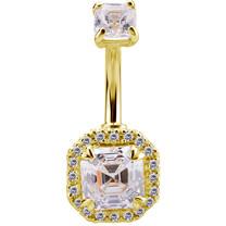 18K Gold Belly Piercing - Imperial Cut Swarovski Zirconia