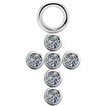 Segment Ring Charm - Swarovski Zirconia Cross