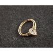18 Karat Gold Septum/Daith Ring - Swarovski Zirconia Teardrop