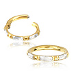 Gold Plated Hinged Segment Ring - Clear Stones