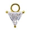 18 Karat Gold Charm - Triangle  Swarovski Zirconia