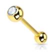 14 Karaat Massief Gouden Barbell - Swarovski Kristalletje