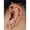 Gold Plated Industrial Barbell - Cubic Zirconia