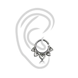 White Brass Tragus Ring - Vintage Design