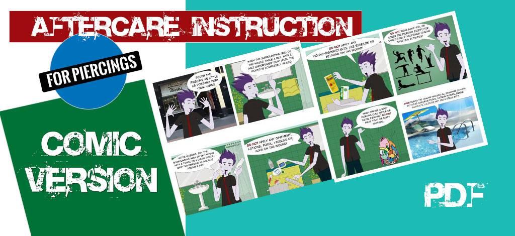 Stripboek Nazorginstructie voor Piercing