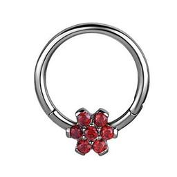 Surgical Steel Click Ring - Swarovski Flower