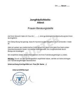 Virginity certificate