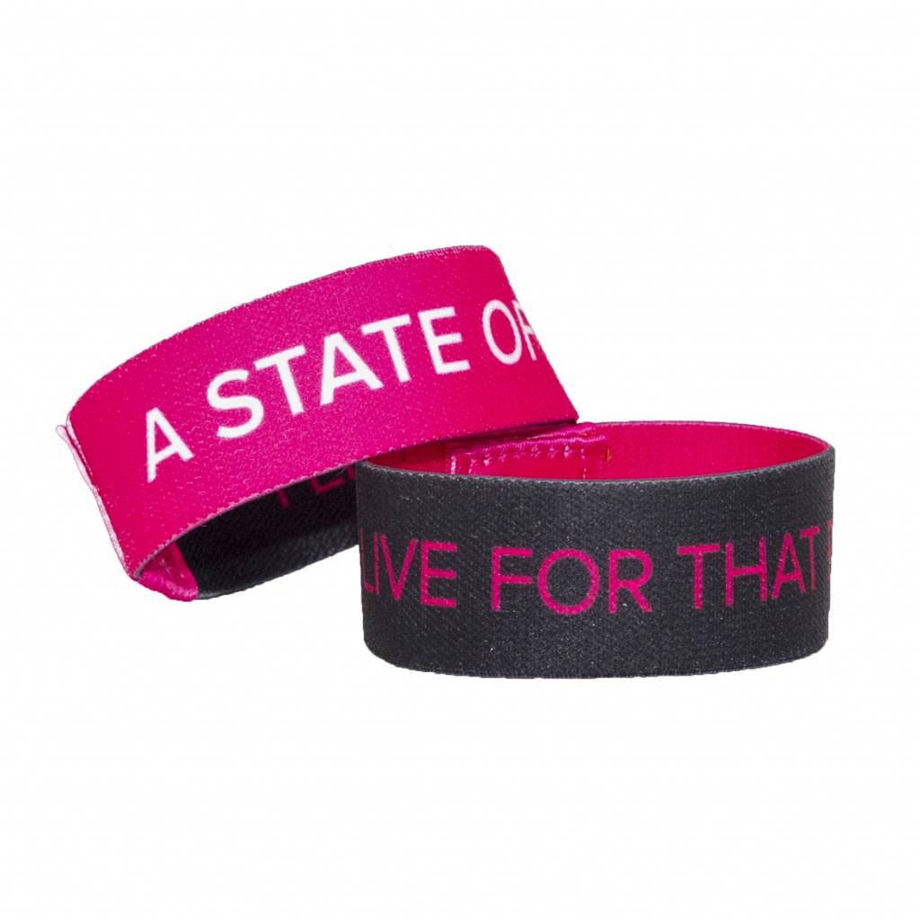 A State Of Trance A State Of Trance - Woven Pink, White & Black Wristband