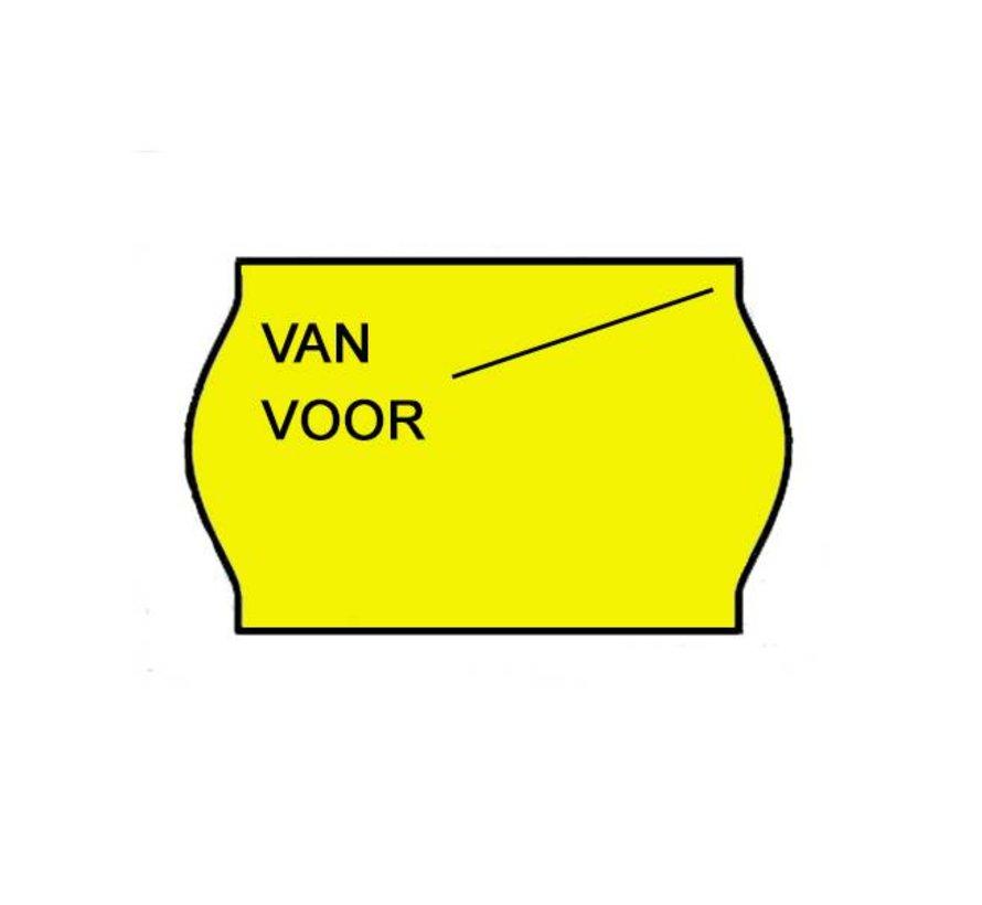 Van/voor prijsetiketten 26x16 Fluor geel - 1ds à 36 rol