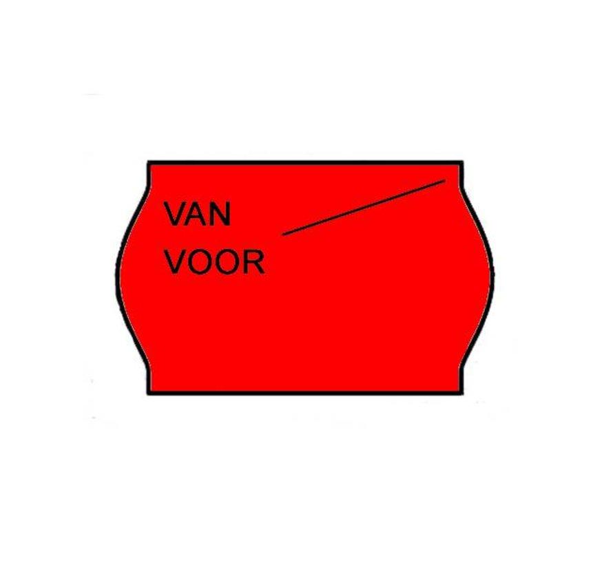 Van/voor prijsetiketten 26x16 Fluor rood - 1ds à 36 rol