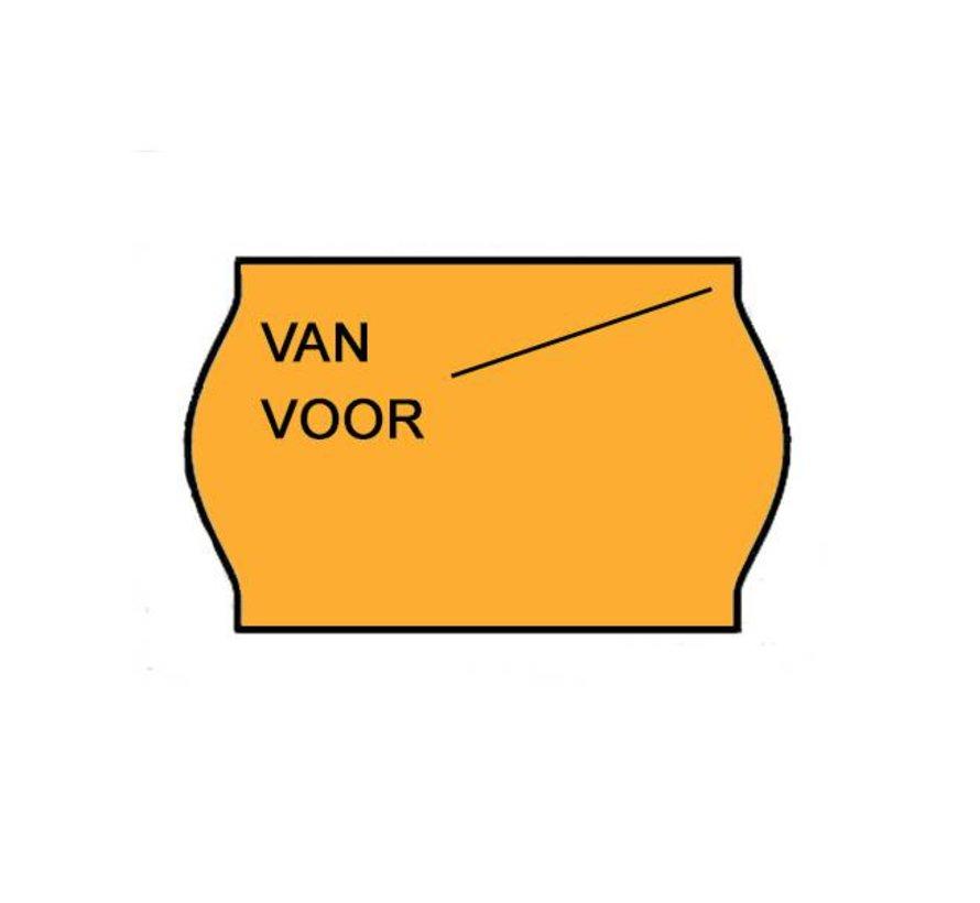 Van/voor etiketten 26x16 Fluor oranje - 1ds à 36 rol