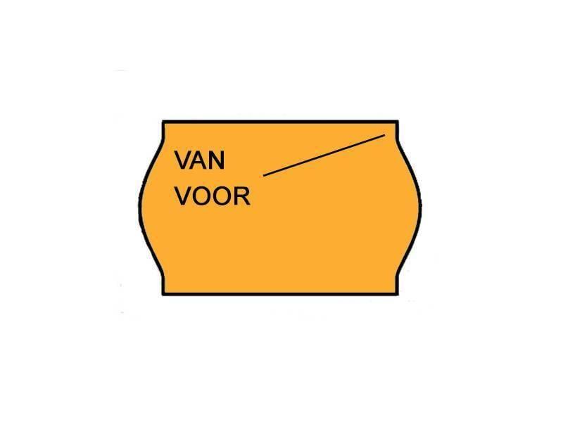 METO Etiketten Van/voor  26x16 Fluor oranje - 1ds à 36 rol