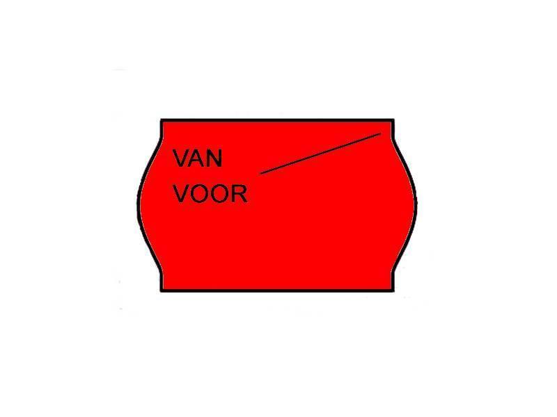 METO Van/voor prijsetiketten 26x16 Fluor rood - 1ds à 36 rol