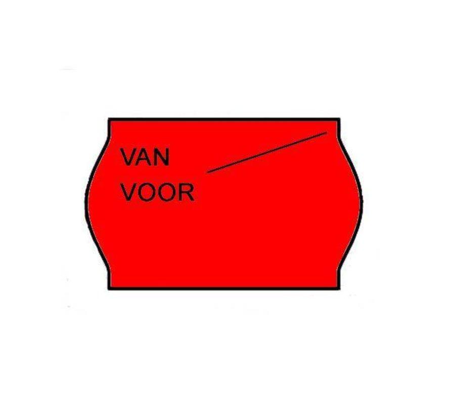 Van/voor prijsetiketten 26x16 Fluor rood - 36 rol