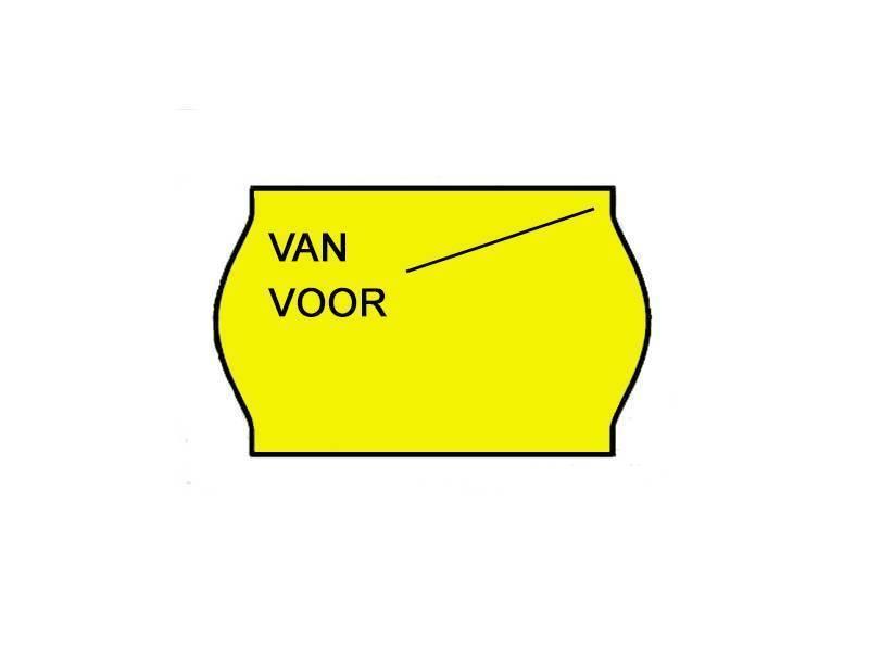 Contact Van/voor prijsetiketten 26x16 / 25x16 Fluor Geel- 36 rol