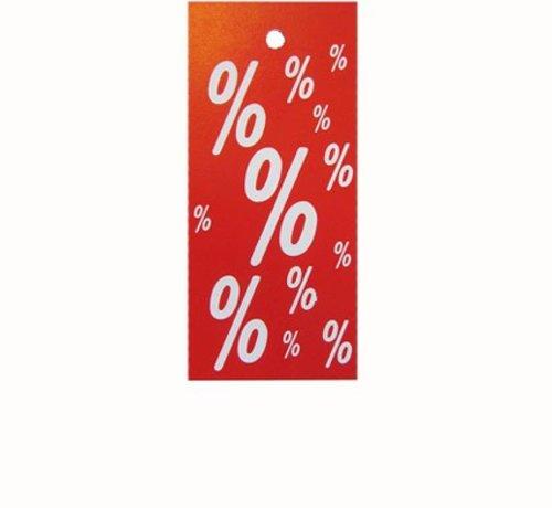 Hangetiket korting % rood/wit 28x60mm (1000)