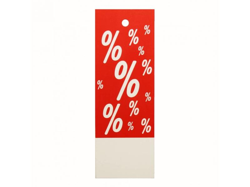 Hangetiket korting % rood/wit 28x78mm (1000)