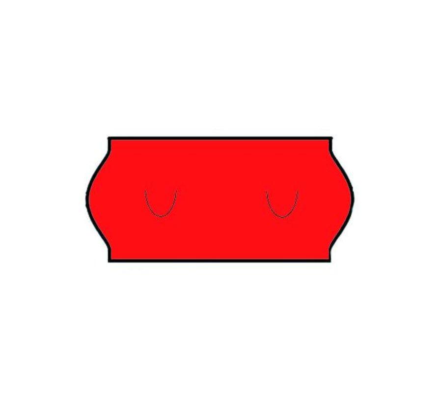 etiketten 26x12 wit met U stanzing Rood- 1ds á 36 rol