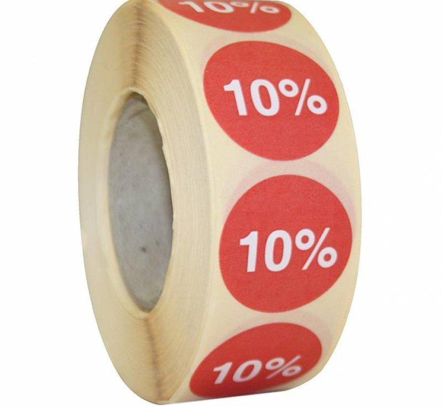 Kortingssticker % 25mm - rood/wit