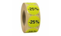 Kortingssticker % 35mm - geel/zwart