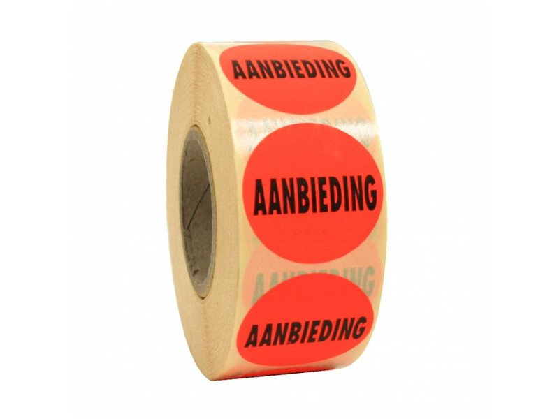Sticker AANBIEDING 35mm - rood/zwart